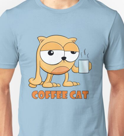 Coffee Cat Hates Mornings Cartoon Unisex T-Shirt