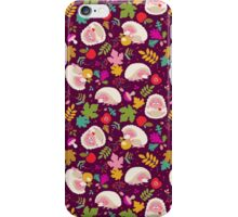 Cute White Hedgehogs in Purple  Background. iPhone Case/Skin
