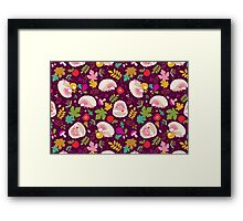 Cute White Hedgehogs in Purple  Background. Framed Print