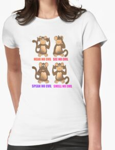 Smell No Evil Womens Fitted T-Shirt