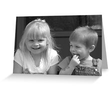 Laughter among cousins Greeting Card