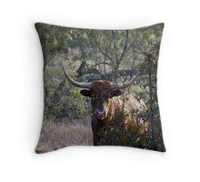 half-hidden longhorn Throw Pillow