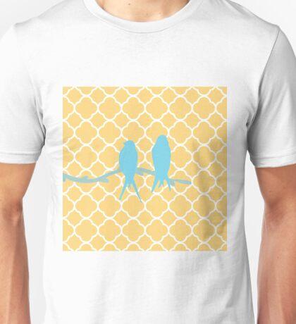 Modern vintage yellow quatrefoil blue cute bird Unisex T-Shirt