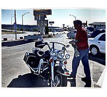 Harley Gets a Wash at Famous El Rancho Hotel, Gallup, NM Poster