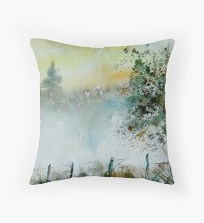 Mist watercolor Throw Pillow