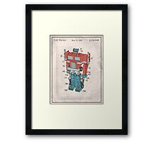 Optimus Prime Transformers Patent  Framed Print