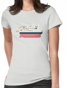 Minimalist Jacques Cousteau's Research Vessel Calypso Womens Fitted T-Shirt