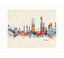 barcelona skyline watercolor Art Print