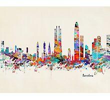 barcelona skyline watercolor Photographic Print