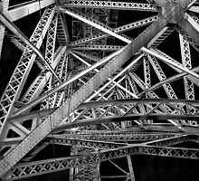 Steel Bridge in Black and White by thirdiphoto