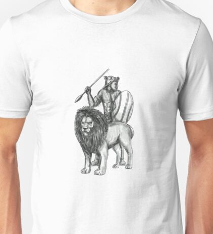 African Warrior Spear Lion Tattoo Unisex T-Shirt
