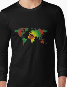 Psychedelic world map Long Sleeve T-Shirt