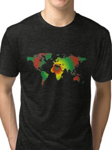 Psychedelic world map Tri-blend T-Shirt
