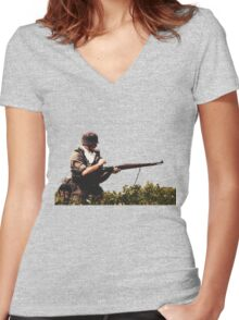Soldier from WW2 Women's Fitted V-Neck T-Shirt