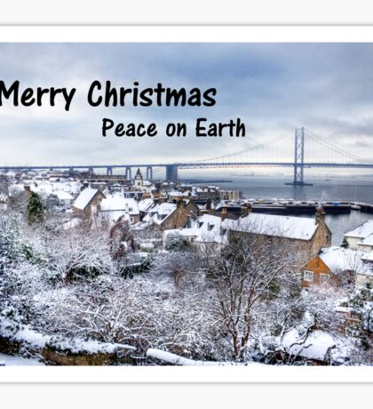 South Queensferry in the Snow - Christmas Card Sticker