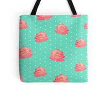 Chinoiserie Vintage floral print - roses on polka dots Tote Bag