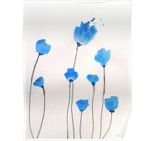 Bright blue flowers Poster