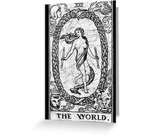 The World Tarot Card - Major Arcana - fortune telling - occult Greeting Card