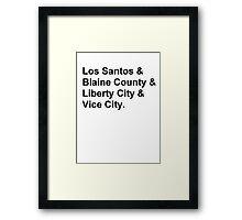 Cities of GTA T-Shirt Framed Print