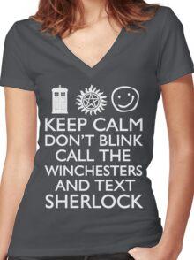 SUPERWHOLOCK SUPERNATURAL DOCTOR WHO SHERLOCK Women's Fitted V-Neck T-Shirt