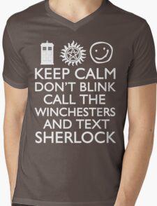 SUPERWHOLOCK SUPERNATURAL DOCTOR WHO SHERLOCK Mens V-Neck T-Shirt