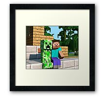 Steve and Creeper - Minecraft Framed Print