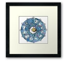 Watercolor Zentangle Zodiac Chart Framed Print