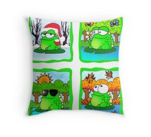 Frog For All Seasons Throw Pillow