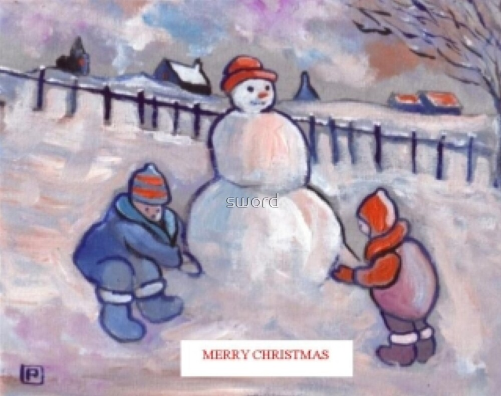 Merry christmas card the snowman from my original acrylic by sword