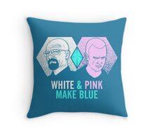 White & Pink Make Blue Throw Pillow