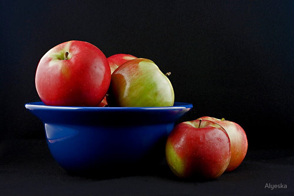 Apples in a Blue Bowl by Alyeska