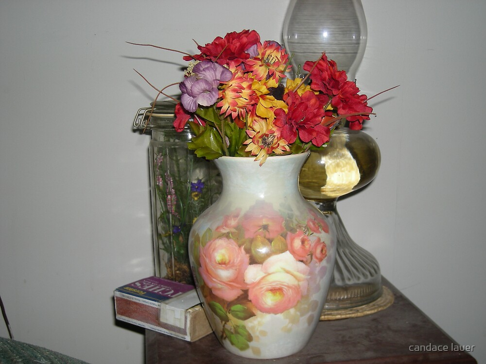 old world vases of flowers  by candace lauer
