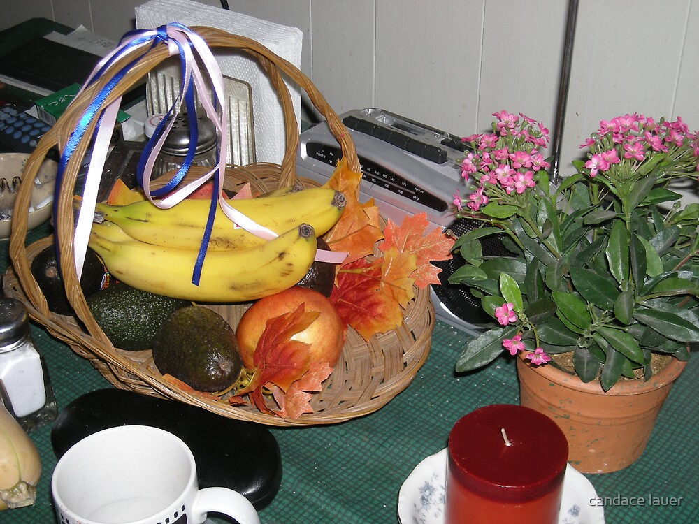 Giving Days - fall basket of leaves, fruit and vegtables  by candace lauer