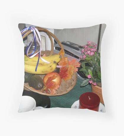 Giving Days - fall basket of leaves, fruit and vegtables  Throw Pillow