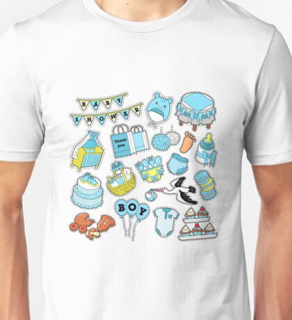 Baby Shower Boy Stickers, Badges, Patches for Birthday Party Decoration. Vector Doodle Unisex T-Shirt
