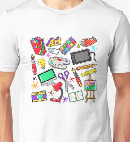 Art Creativity Badges, Stickers, Patches with Paints and Design Tools. Vector Doodle Unisex T-Shirt