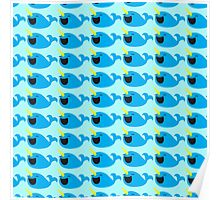 Cute Narwhale happy pattern Poster