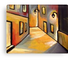 Street at night (from my original acrylic painting) Canvas Print