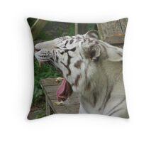 Yawning tiger Throw Pillow
