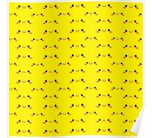 Cute KAWAII little happy and sad faces in yellow like pikachu Poster