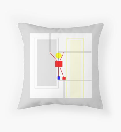Pastel grey, yellow, PRIMARY COLORS Throw Pillow