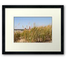 Dune Grass and Lighthouse Framed Print