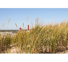 Dune Grass and Lighthouse Photographic Print
