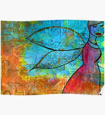 Henna Winged GRRRRL, mixed media Poster
