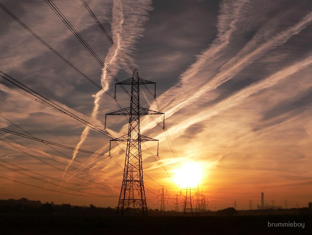 Power, dawn and contrails ... by brummieboy