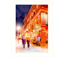 Festive Winter Night on the Streets of Old Quebec Art Print