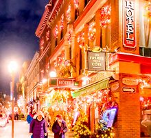 Festive Winter Night on the Streets of Old Quebec by Mark Tisdale