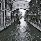 Venice canal, Ponte di sospiri (bridge of sighs), leading to historic prison, Italy (Black and White) by bethischeery