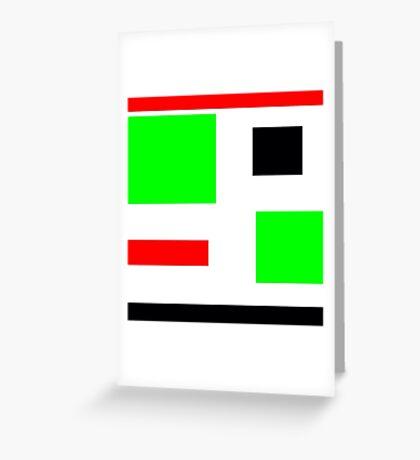 Green, black, red, blocks design Greeting Card