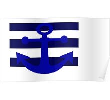 Navy Stripe Anchor Poster
